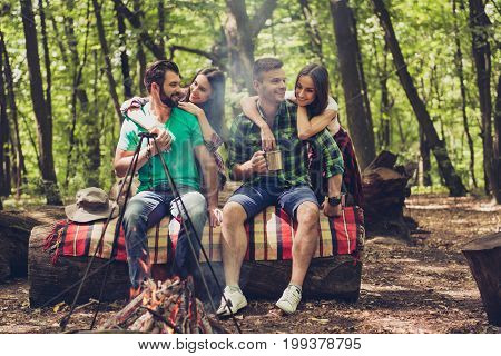 Fire Place, Two Lovely Couples, Nice Forest View. Guys Are Piggybacking Their Girlfriends, Sitting O