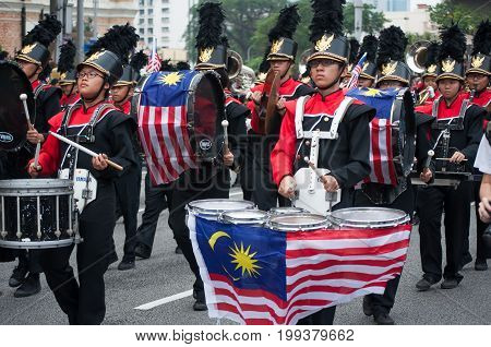 Kuala Lumpur Malaysia - August 31 2014: Marching band during Malaysia's 57th Independence day parade held in Merdeka Square Kuala Lumpur.