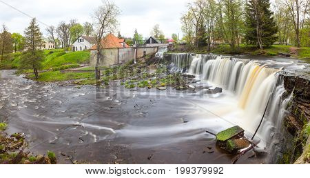 Keila Joa waterfall, long exposure and spring time with greenery. Panoramic vew.