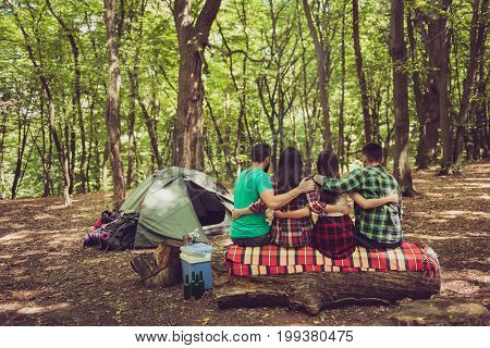 Rear View Of Four Serene Tourists Friends Sitting And Bonding On A Log In A Campsite, Nice Summer Su