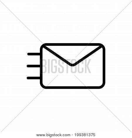 Thin Line Envelope Icon On White Background