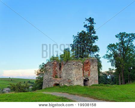 Summer Evening Svirzh Castle Dilapidated Tower View (ukraine).