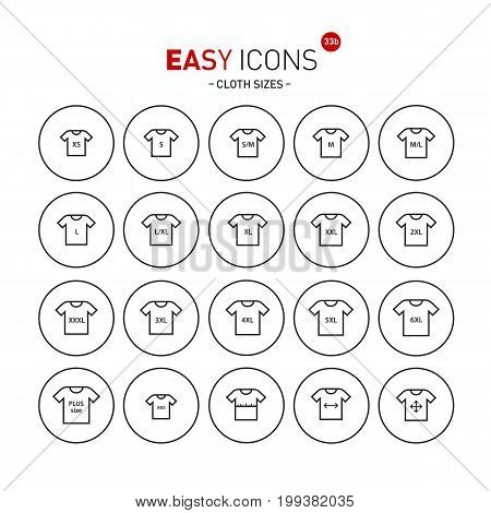 Vector thin line flat design icons set for cloth sizes theme