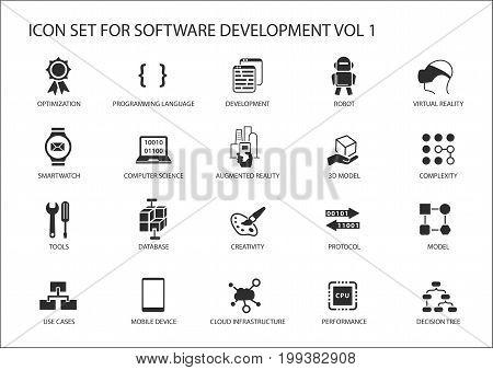 Software development icon set. Vector symbols to be used for Software development and information technology