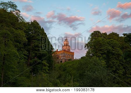 View of new neogothic castle at sunset in Sigulda. Latvia