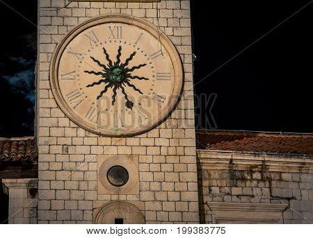 The clock tower in Dubrovnik Croatia at night