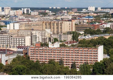 Aerial view of the southeastern part of the Minsk with old soviet buildings. Minsk is the capital and largest city of Belarus.