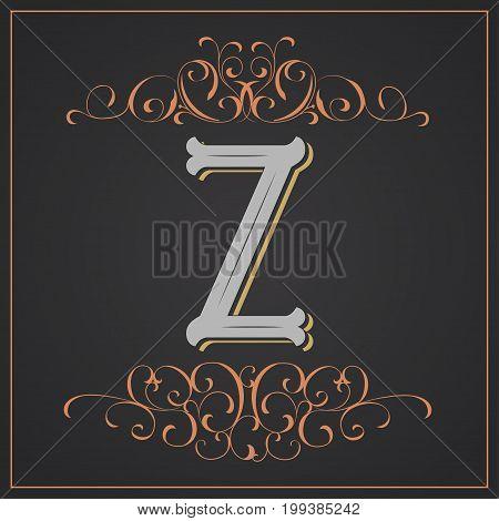 Retro style, western letter design. Letter Z