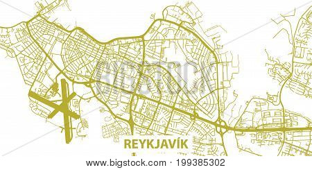 Detailed vector map of Reykjavík in gold with title, scale 1:30 000, Iceland