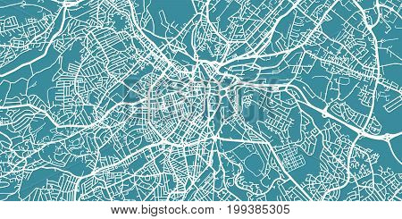 Detailed vector map of Sheffield, scale 1:30 000, England, UK