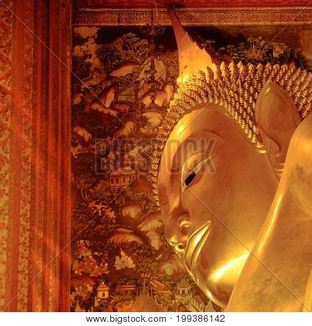 The Big Golden Reclining Buddha Within Wat Pho Temple Is The Landmark Of Bangkok, Thailand  And Asia