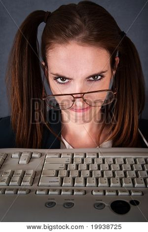 Upset Female Computer Nerd