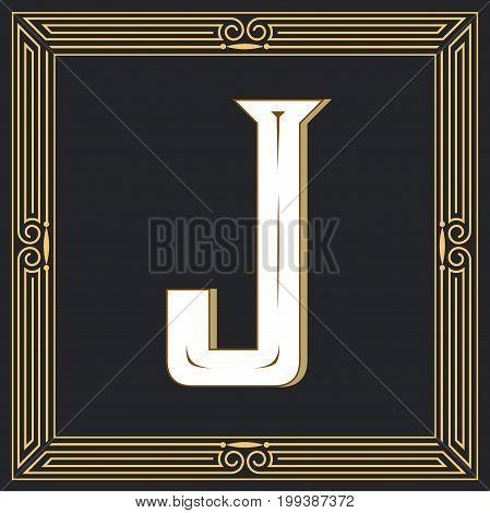 Retro style, western letter design. Letter J
