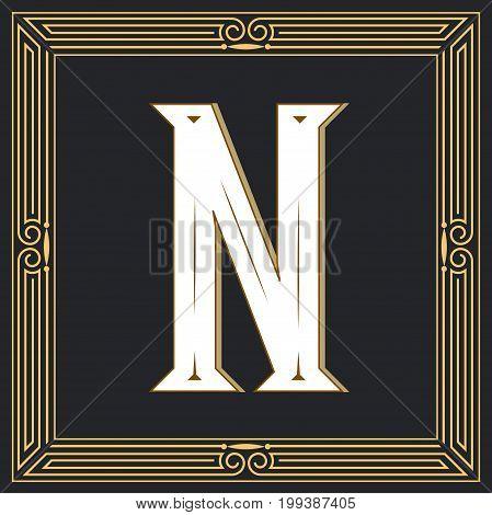 Retro style, western letter design. Letter N