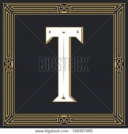 Retro style, western letter design. Letter T