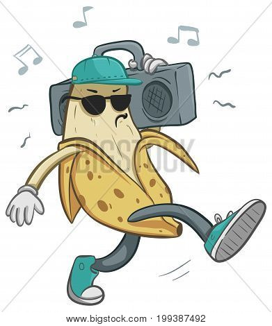 Vector illustration of a cartoon banana holding a boom box.