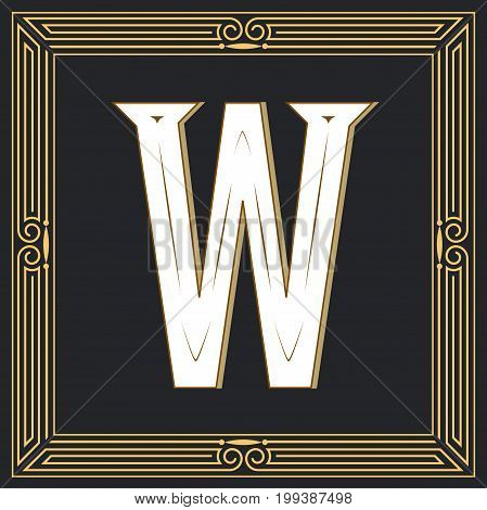 Retro style, western letter design. Letter W