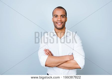 Successful Smiling Young Handsome Mulatto American Guy Lawyer In Formal Outfit On Pure Background Wi