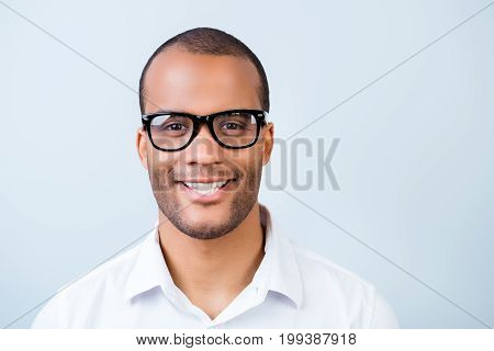 Successful Young Handsome Mulatto American Student In Formal Outfit And Black Glasses On Pure Backgr