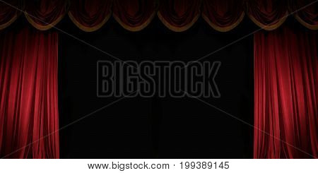 ajar red curtain on stage of the theater Gorgeous background with space for text for your message