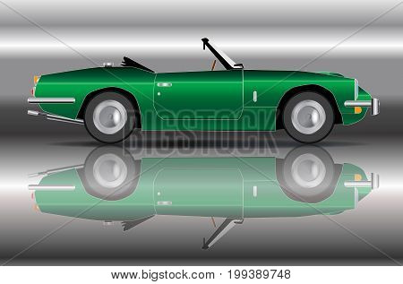 A classic old style sports car in British Racing Green over a silver background