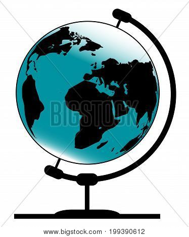 A globe of the earth on a traditional swivel stand isolated on a white background