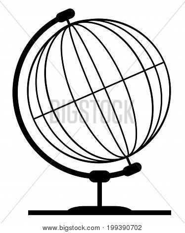 A wire or line style globe of the earth on a traditional swivel stand isolated on a white background