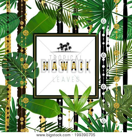 Vector Seamless pattern with tropical leaves with ethnic design patterns. Stripes with golden texture on background. Art illustration.Inscription tropical Hawaii leaves