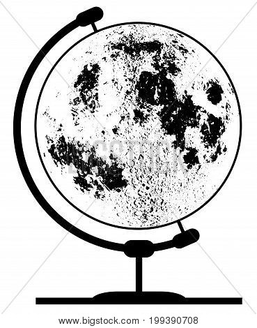 Globe of the moon on a traditional swivel stand isolated on a white background