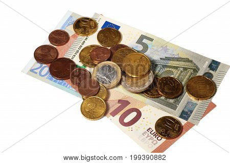 Euros and coins on white background isolated