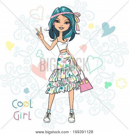 Cute beautiful girl in t-shirt and skirt, with a ribbon in his hair and pink bag