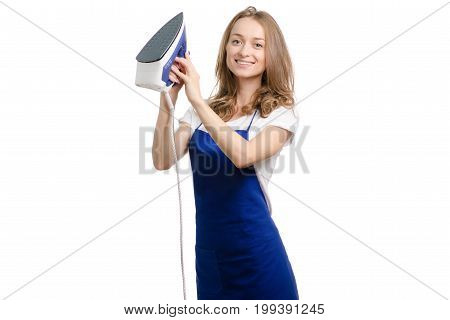 Woman in apron with iron on white background isolation