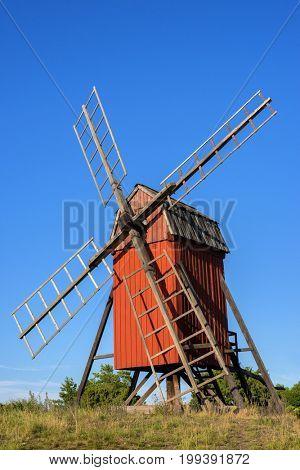 Traditional windmill on Swedish island Oland