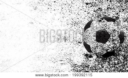 A typical soccer football with a heavy grunge faded background