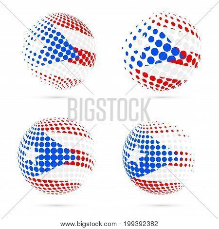 Puerto Rico Halftone Flag Set Patriotic Vector Design. 3D Halftone Sphere In Puerto Rico National Fl