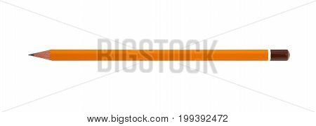 Yellow Pencil Isolated On Pure White Background