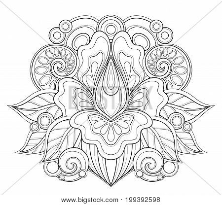 Monochrome Floral Design Element In Doodle Line Style