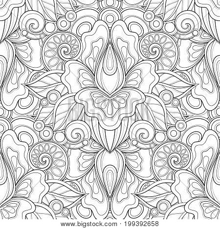 Monochrome Seamless Pattern With Floral Motifs
