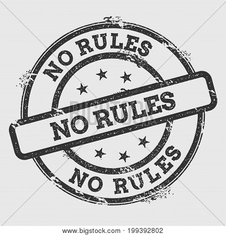 No Rules Rubber Stamp Isolated On White Background. Grunge Round Seal With Text, Ink Texture And Spl