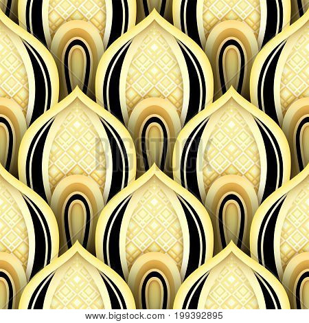 Seamless Pattern With Gold And Black Ethnic Motifs