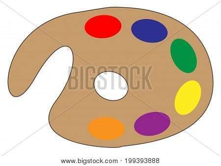 a typical artists paint palette with a variety of colours over a white background