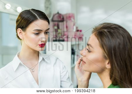 Beautiful brunette woman paints the lips. Beautiful woman face. Makeup detail. Woman's face with fashion pink lips makeup. Make-up artist apply pink lipstick