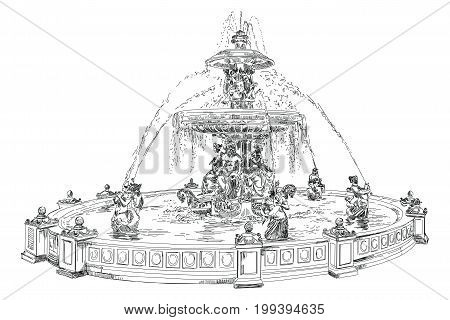 Fountain at Place de la Concord (landmark of Paris) vector hand drawing illustration in black color isolated on white background