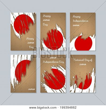 Japan Patriotic Cards For National Day. Expressive Brush Stroke In National Flag Colors On Kraft Pap