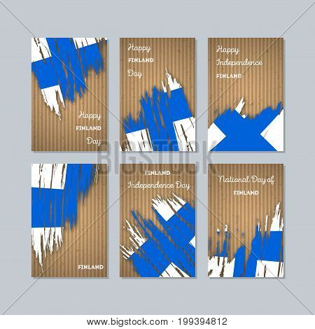 Finland Patriotic Cards For National Day. Expressive Brush Stroke In National Flag Colors On Kraft P