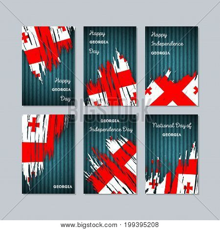 Georgia Patriotic Cards For National Day. Expressive Brush Stroke In National Flag Colors On Dark St