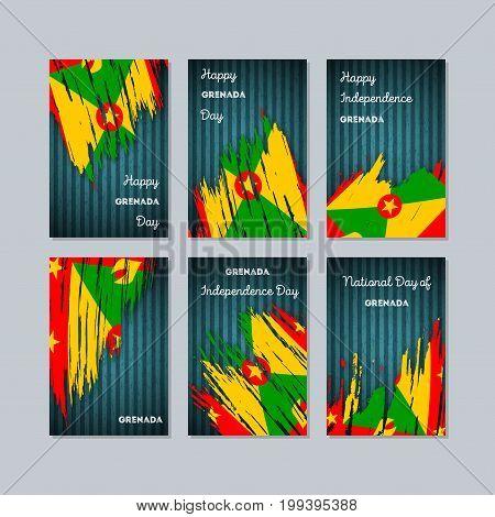 Grenada Patriotic Cards For National Day. Expressive Brush Stroke In National Flag Colors On Dark St