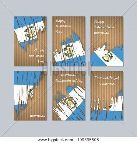 Guatemala Patriotic Cards For National Day. Expressive Brush Stroke In National Flag Colors On Kraft