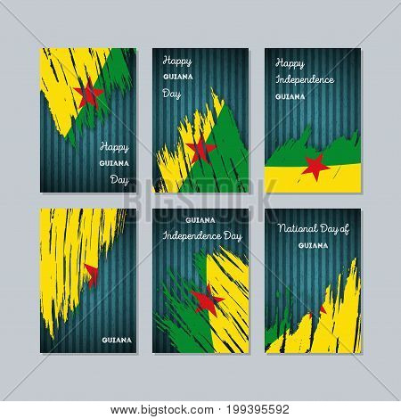 Guiana Patriotic Cards For National Day. Expressive Brush Stroke In National Flag Colors On Dark Str