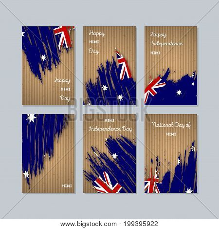 Himi Patriotic Cards For National Day. Expressive Brush Stroke In National Flag Colors On Kraft Pape